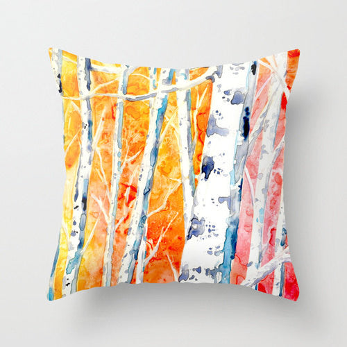 Decorative Pillow Cover - Falling for Color - Birch Trees  - Throw Pillow Cushion Home Decor - Brazen Design Studio
