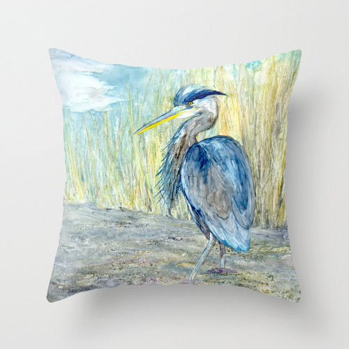 Decorative Pillow Cover - Great Blue Heron - Throw Pillow Cushion - Fine Art Home Decor - Brazen Design Studio