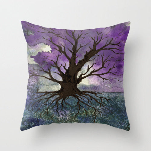 Decorative Pillow Cover - Tree of Life Painting - Throw Pillow Cushion - Fine Art Home Decor - Brazen Design Studio