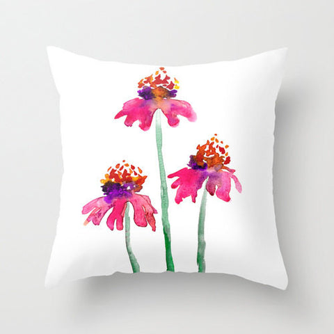Decorative Pillow Cover - Echinacea Floral - Woodland Decor - Throw Pillow Cushion Home Decor - Brazen Design Studio