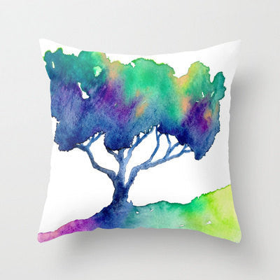 Decorative Pillow Cover - Rainbow Tree - Woodland Decor - Throw Pillow Cushion Home Decor - Brazen Design Studio