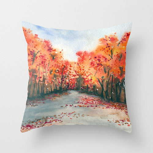 Decorative Pillow Cover - Autumn Painting - Throw Pillow Cushion - Fine Art Home Decor - Brazen Design Studio
