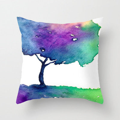 Decorative Pillow Cover - Rainbow Tree Painting - Woodland Decor - Throw Pillow Cushion - Brazen Design Studio