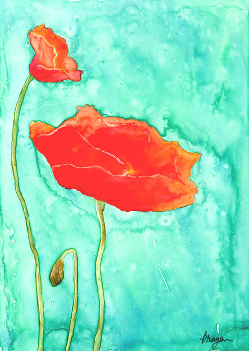 Watercolor Painting - Floral Art - Poppy Trio - Wildflowers - Brazen Design Studio