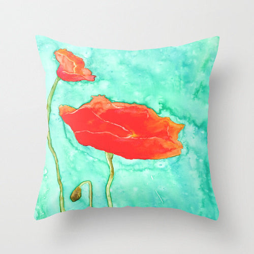 Decorative Poppy Floral Pillow Cover - Throw Pillow Cushion - Fine Art Home Decor - Brazen Design Studio