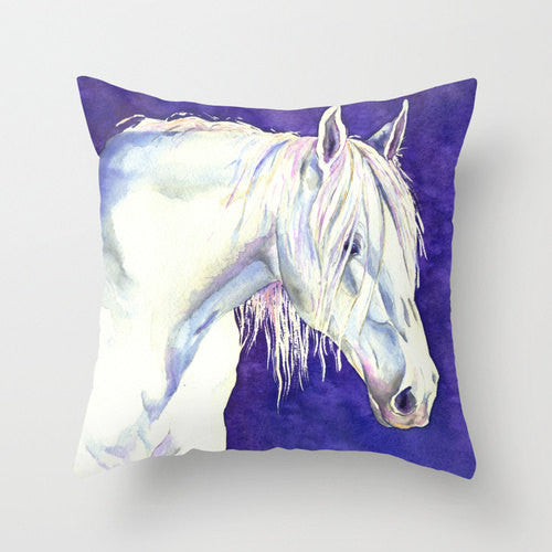 Decorative Pillow Cover - Horse Painting - Throw Pillow Cushion - Home Decor - Brazen Design Studio