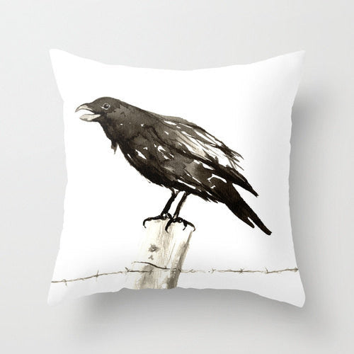 Decorative Pillow Cover - Raven - Bird Throw Pillow Cushion - Fine Art Home Decor - Brazen Design Studio