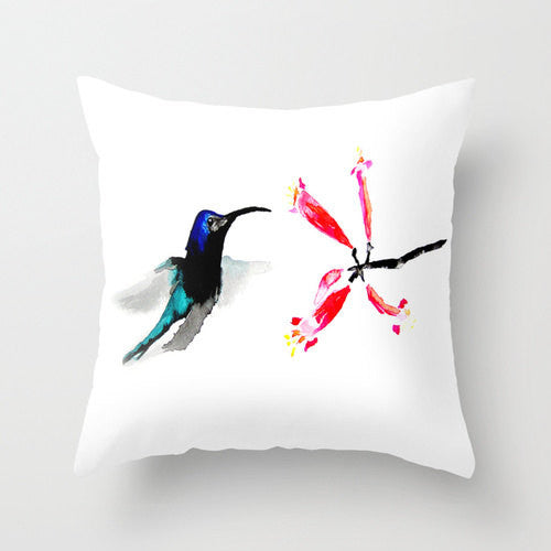 Decorative Pillow Cover - Hummingbird Floral - Throw Pillow Cushion - Fine Art Home Decor - Brazen Design Studio