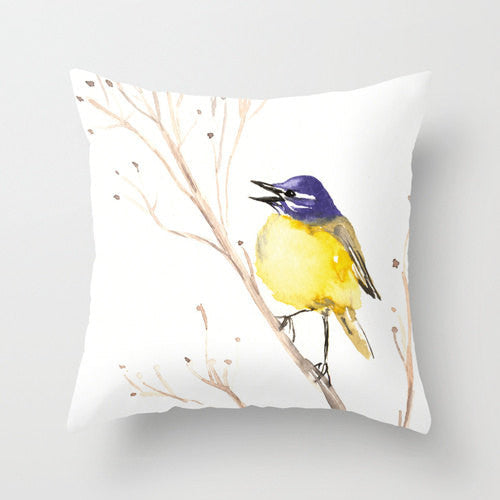 Decorative Pillow Cover - Wagtail Bird Floral - Throw Pillow Cushion - Fine Art Home Decor - Brazen Design Studio