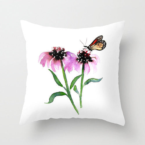 Decorative Pillow Cover - Monarch Butterfly Floral - Throw Pillow Cushion - Fine Art Home Decor - Brazen Design Studio