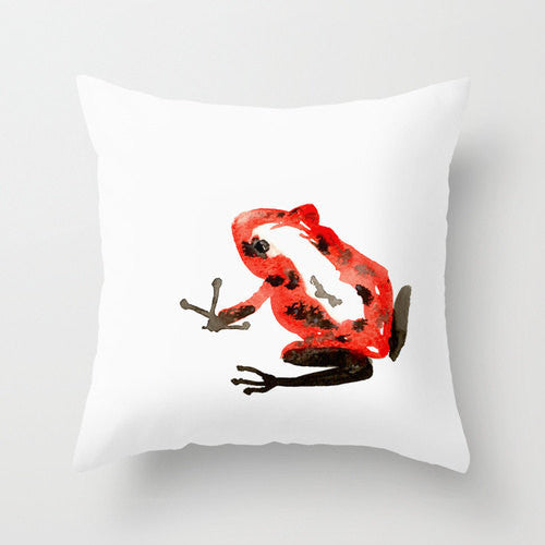 Decorative Pillow Cover - Red Frog Art - Throw Pillow Cushion - Fine Art Home Decor - Brazen Design Studio