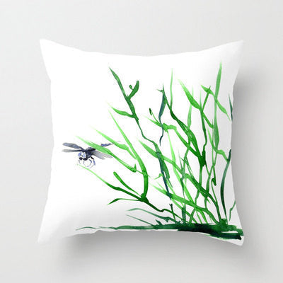 Decorative Pillow Cover - Dragonfly Grass - Throw Pillow Cushion - Fine Art Home Decor