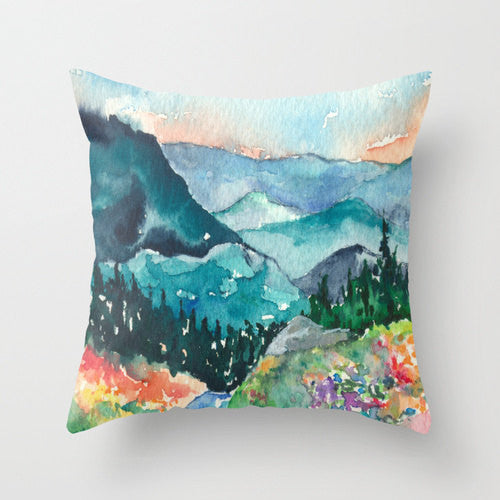 Decorative Pillow Cover - Valley of Dreams Painting - Throw Pillow Cushion - Fine Art Home Decor - Brazen Design Studio