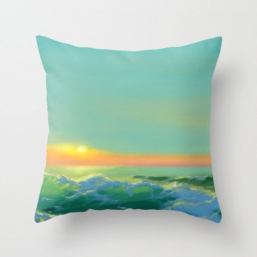 Decorative Pillow Cover - Ocean Painting - Throw Pillow Cushion - Home Decor - Brazen Design Studio