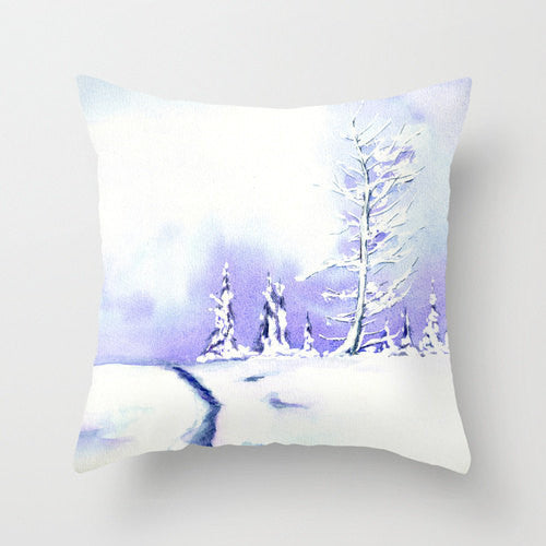 Decorative Pillow Cover - Winter Painting - Throw Pillow Cushion - Home Decor - Brazen Design Studio