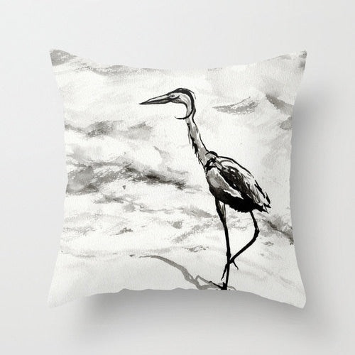 Decorative Pillow Cover - Heron Crane Bird Art - Throw Pillow Cushion - Fine Art Home Decor - Brazen Design Studio