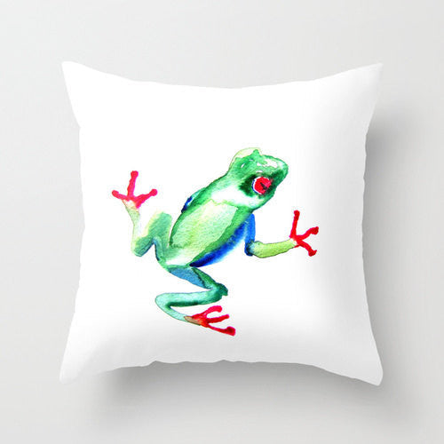 Decorative Pillow Cover - Green Tree Frog Art - Throw Pillow Cushion - Fine Art Home Decor