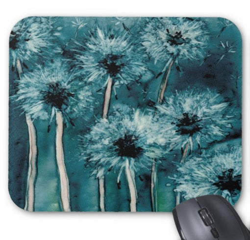 Mousepad - Dandelion Wishes Floral Watercolor Painting - Art for Home or Office