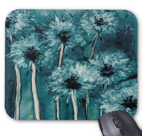Mousepad - Dandelion Wishes Floral Watercolor Painting - Art for Home or Office - Brazen Design Studio