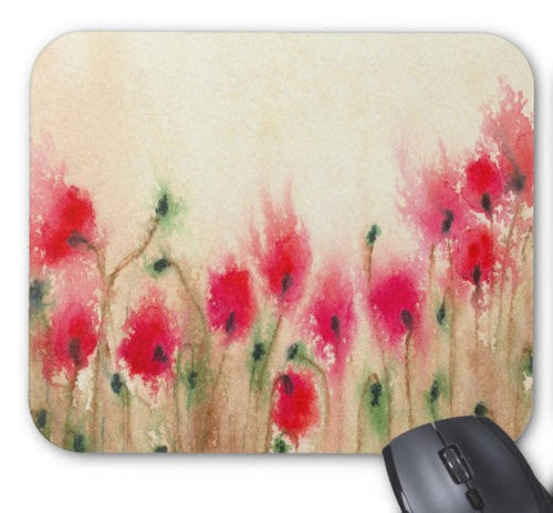 Mousepad - Red Poppies Painting - Art for Home or Office - Brazen Design Studio