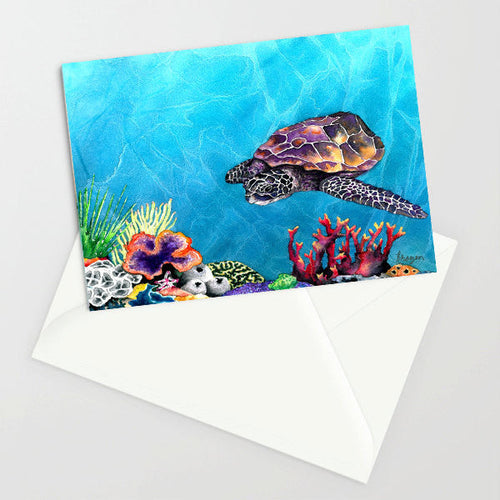 Sea Turtle Art Card Ocean Life Water Painting - Brazen Design Studio