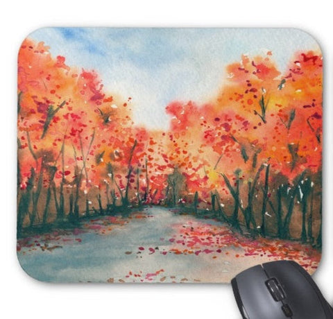 Mousepad - Autumn Journey Landscape Watercolor Painting - Art for Home or Office - Brazen Design Studio