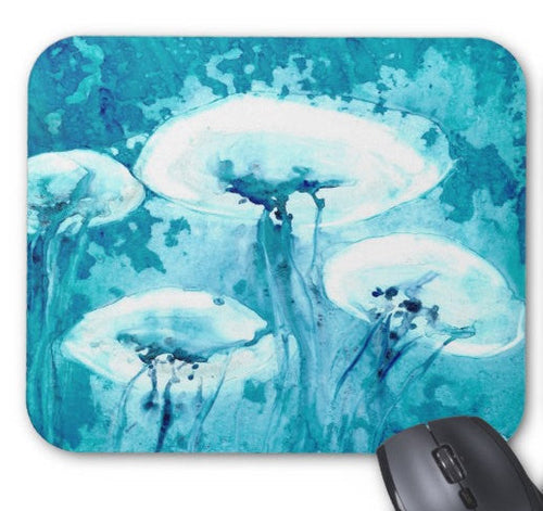 Mousepad - Jellyfish Ocean Life Watercolor Painting - Art for Home or Office - Brazen Design Studio