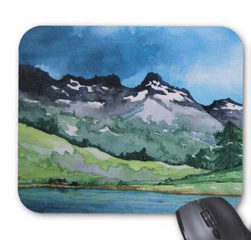 Mousepad - Mountain Landscape Watercolor Painting - Art for Home or Office - Brazen Design Studio