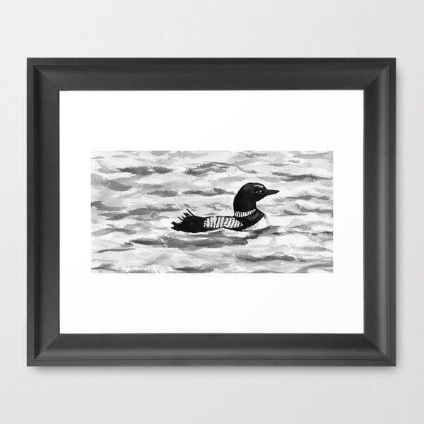 Ink Painting - Common Loon Sumi-e  - Wildlife Japanese Brush Painting - Bird Art Print - Brazen Design Studio