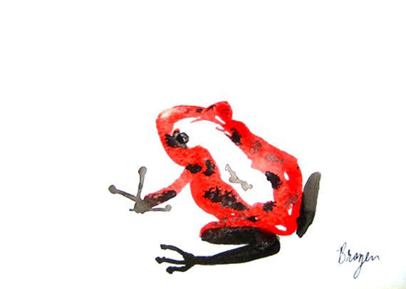 Red Poison Dart Frog - Minimalist Sumi-e - Ink Painting Art Print - Brazen Design Studio