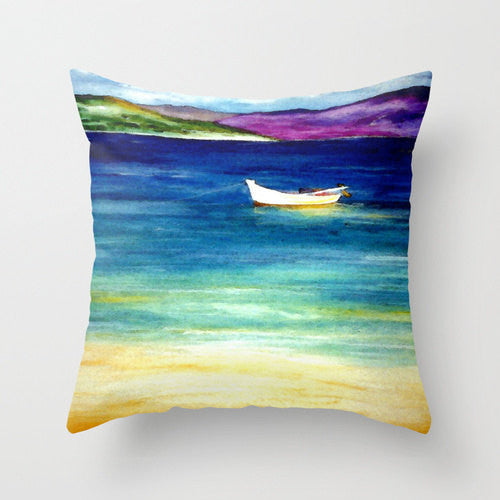 Decorative Pillow Cover - Carribean Painting - Throw Pillow Cushion - Home Decor - Brazen Design Studio
