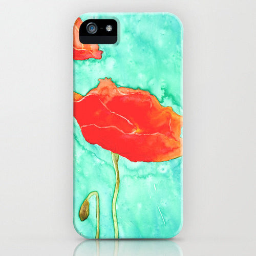 Floral Phone Case   Poppy Trio Painting  ...