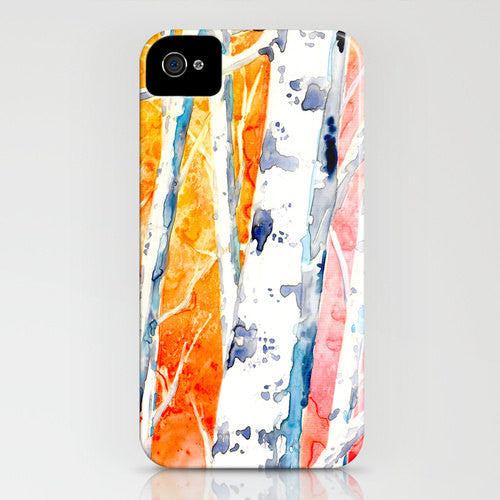 Cell Phone Case - Aspen Birch Tree Falling for Color Painting - Designer iPhone Samsung Case - Brazen Design Studio