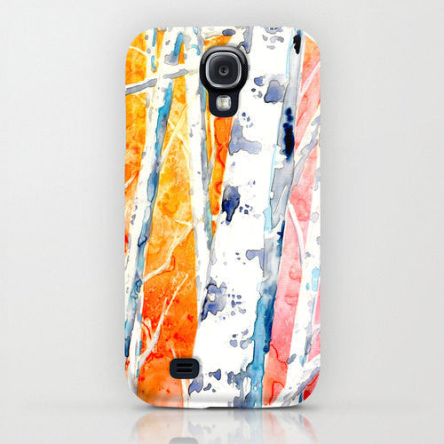 Cell Phone Case - Aspen Birch Tree Falling for Color Painting - Designer iPhone Samsung Case