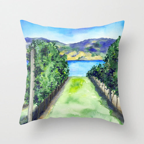Decorative Pillow Cover - Between the Vines - Winery Painting - Throw Pillow Home Decor - Brazen Design Studio