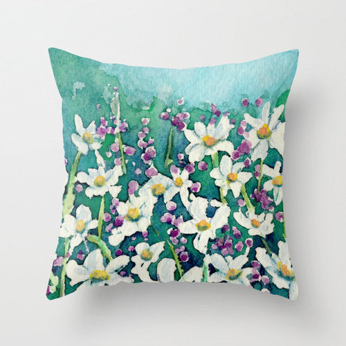 Decorative Pillow Cover - Dancing Daisies Floral Pillow Case - Throw Pillow Cushion Home Decor - Brazen Design Studio