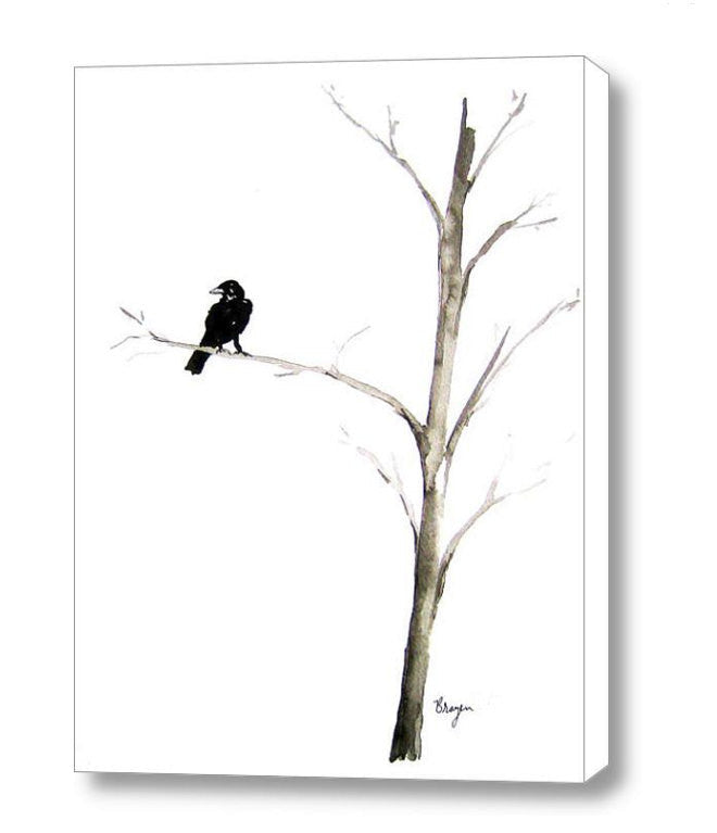 Ink Painting - Raven in a Tree - Mimimalist Art - Gothic Bird Sumi-e Art Print - Brazen Design Studio