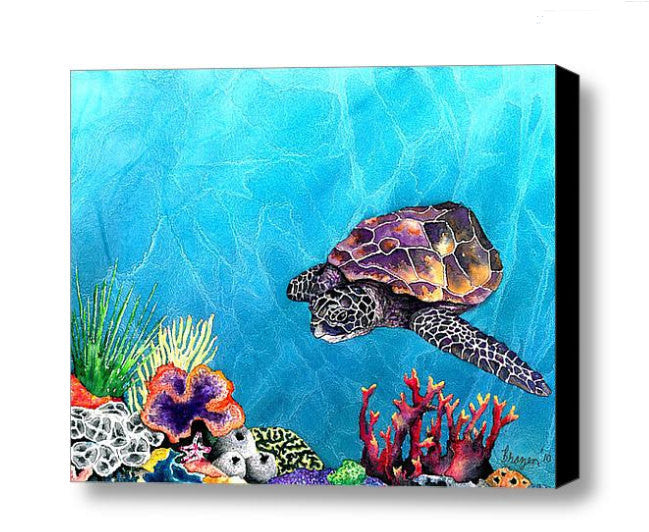 Art Print - Sea Turtle - Ocean Wildlife - Watercolor Painting - Brazen Design Studio