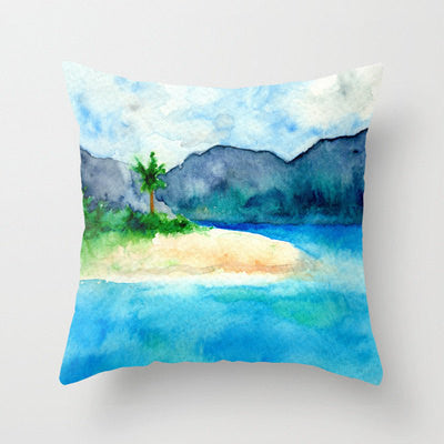 Decorative Pillow Cover - Sandy Cove Caribbean Painting - Throw Pillow Cushion - Home Decor - Brazen Design Studio