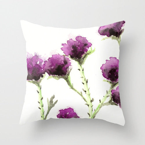Decorative Pillow Cover - Milk Thistle Floral Throw Pillow Cushion - Fine Art Home Decor - Brazen Design Studio