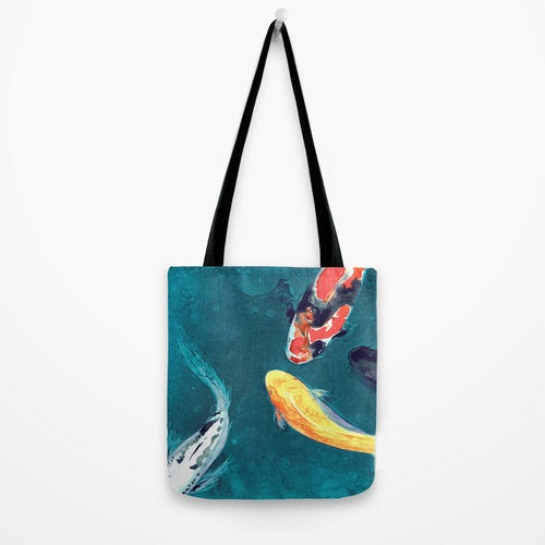 Art Tote Bag - Koi Watercolor Painting - Shoulder Beach Shopping Bag