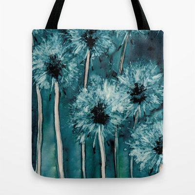 Art Tote Bag - Dandelions Watercolor Painting - Shopping Bag