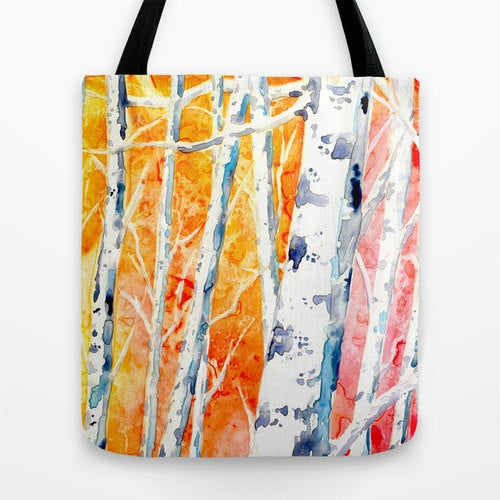 Art Tote Bag - Birch Trees Watercolor Painting - Shopping Bag