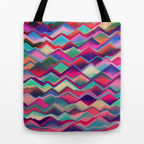 Art Tote Bag - Geometric Watercolor Painting - Shopping Bag