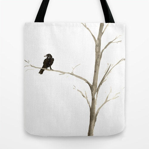 Art Tote Bag - Raven Black Bird Watercolor Painting - Shopping Bag