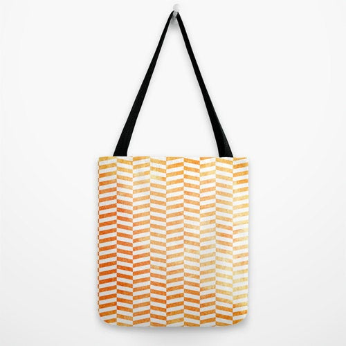 Art Tote Bag - Geometric Herringbone Watercolor Painting - Shopping Bag