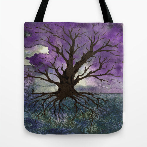 Art Tote Bag - Tree of Life Watercolor Painting - Shopping Bag