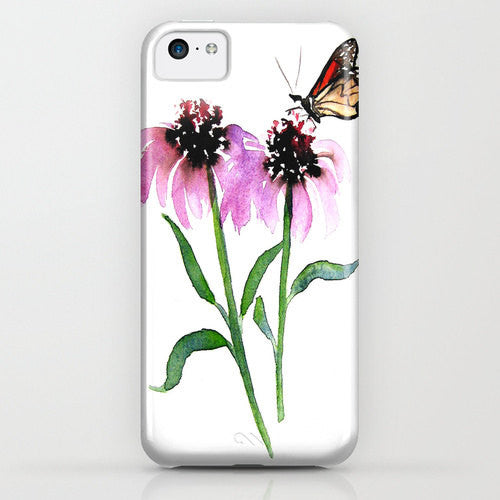 Floral Phone Case Monarch Butterfly - Floral Painting - Designer iPhone Samsung Case - Brazen Design Studio