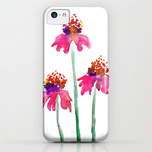 Floral iPhone 7 Case - Watercolor Echinacea Painting - Designer iPhone Samsung Case - Brazen Design Studio