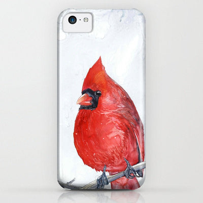 Cardinal Phone Case - Widllife Bird Watercolor Painting - Designer iPhone Samsung Case - Brazen Design Studio